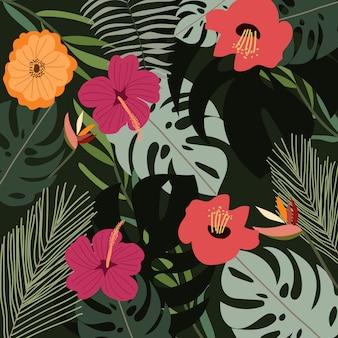 Selva con fondo floral verano tropical