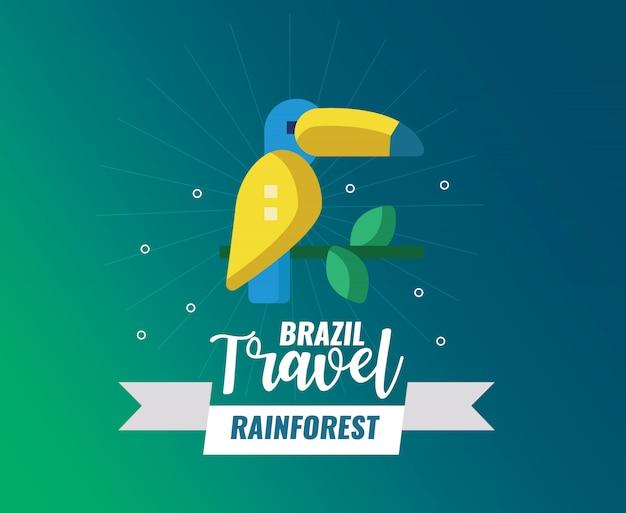 Selva tropical de brasil y logotipo de viaje