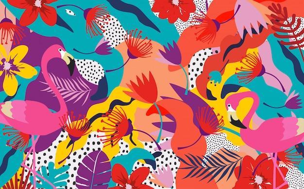 Selva tropical hojas con flamencos.