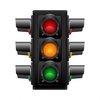 Semáforo 3d realista con cuatro direcciones de visión