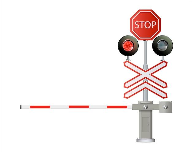 Semáforo, barreras ferroviarias cerca aislado