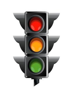 Semáforo de color rojo, amarillo y verde.