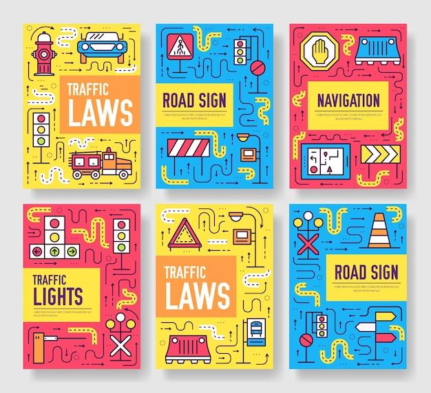 Semáforo día folleto tarjetas conjunto de línea fina. plantilla urbana de flyear, revistas.