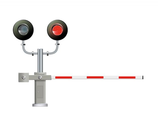 Semáforo ferroviario, barrera. ilustración moderna simple