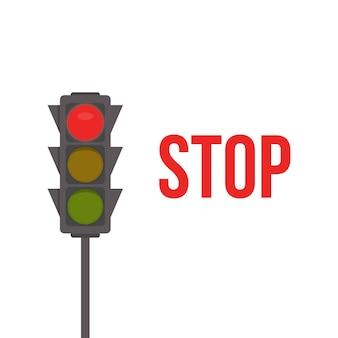 Semáforo. luces rojas, señal de stop del semáforo.