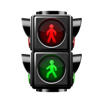 Semáforos peatonales rojos y verdes aislados en blanco