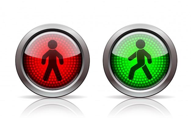 Semáforos de peatones rojo y verde. sobre fondo blanco
