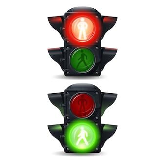 Semáforos realistas de semáforo para peatones.