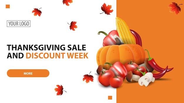 Semana de descuento y venta de acción de gracias, plantilla de banner web minimalista blanco de descuento