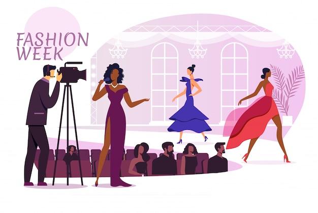 Semana de la moda mostrar ilustración plana