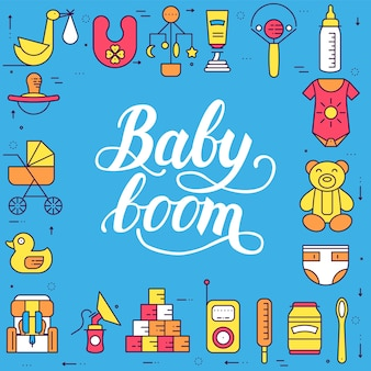 La semana mundial de la lactancia materna y los elementos de los niños conjunto de iconos planos concepto. ilustraciones infantiles.