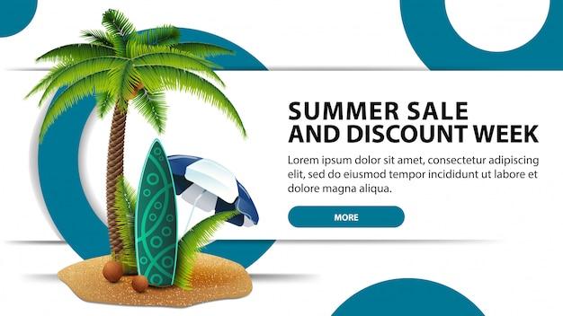 Semana de rebajas y descuentos de verano, banner de descuento moderno con diseño de moda.