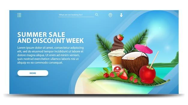 Semana de rebajas y descuentos de verano, banner web azul moderno para su sitio web.