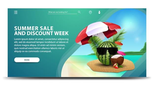Semana de rebajas y descuentos de verano, banner web horizontal creativo con hermosos paisajes.