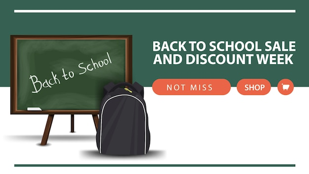 Semana de regreso a la escuela y descuento, banner web de descuento horizontal con junta escolar y mochila escolar