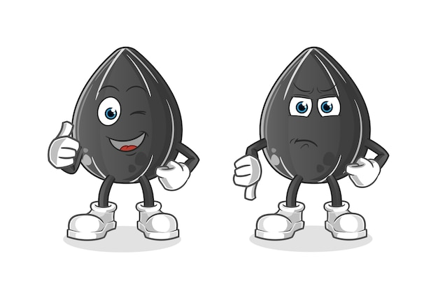 Semilla de girasol pulgares arriba y pulgares abajo dibujos animados