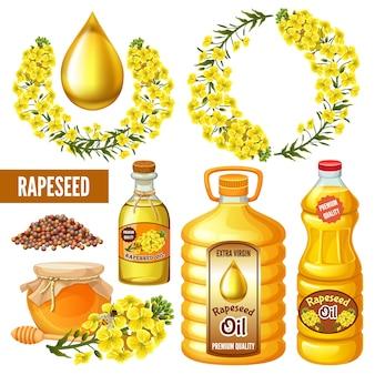Semillas de colza, flores, aceite de canola. brassica napus