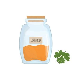 Semillas de oriandro almacenadas en frasco de vidrio aislado
