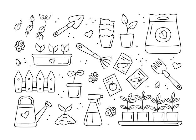 Semillas y plántulas, herramientas, macetas y set de tierra.