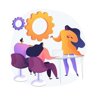 Seminario empresarial. formación y desarrollo del personal. consulta, coaching, mentoring. personajes de dibujos animados escuchando informe de exitosa empresaria.