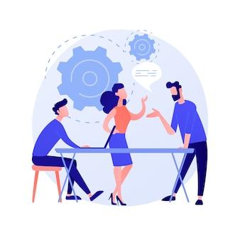Seminario empresarial. formación y desarrollo del personal. consulta, coaching, mentoring. personajes de dibujos animados que escuchan el informe de la ilustración del concepto de empresaria exitosa