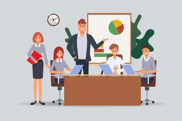 Seminario de trabajo en equipo de personas de negocios reunidos en la oficina.