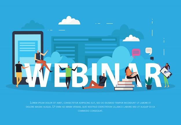 Seminario web de aprendizaje electrónico página de inicio plana