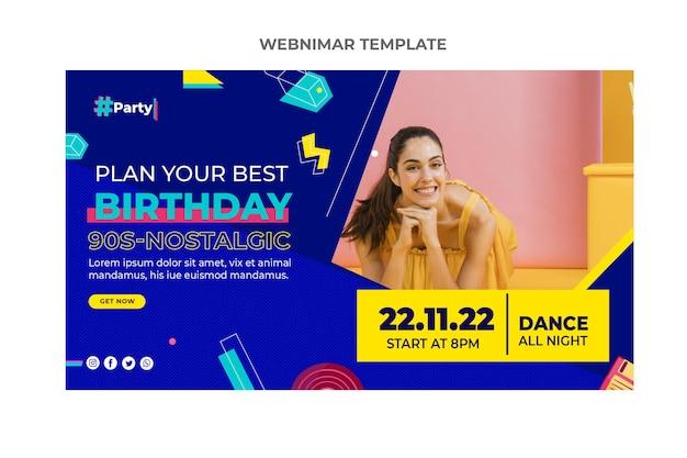 Seminario web de cumpleaños de mosaico plano