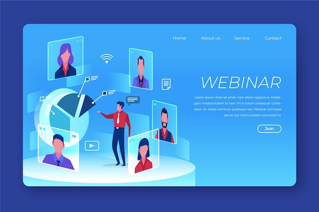Seminario web empresarial con varios personajes de avatar