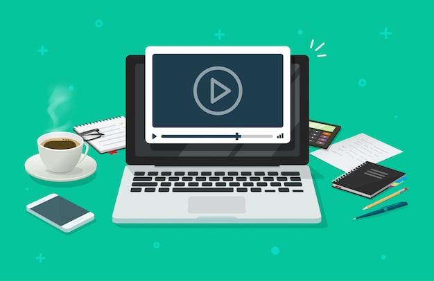 Seminario web y mesa de trabajo con computadora portátil mirando el reproductor de video como educación en línea o aprendiendo dibujos animados planos