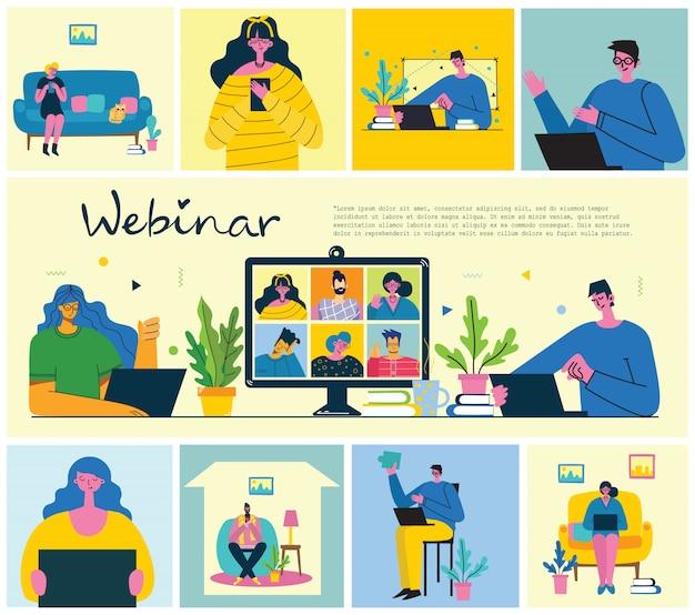 Seminario web solución empresarial en línea. la gente usa el chat de video en computadoras de escritorio y portátiles para hacer conferencias. trabaja remotamente desde casa.