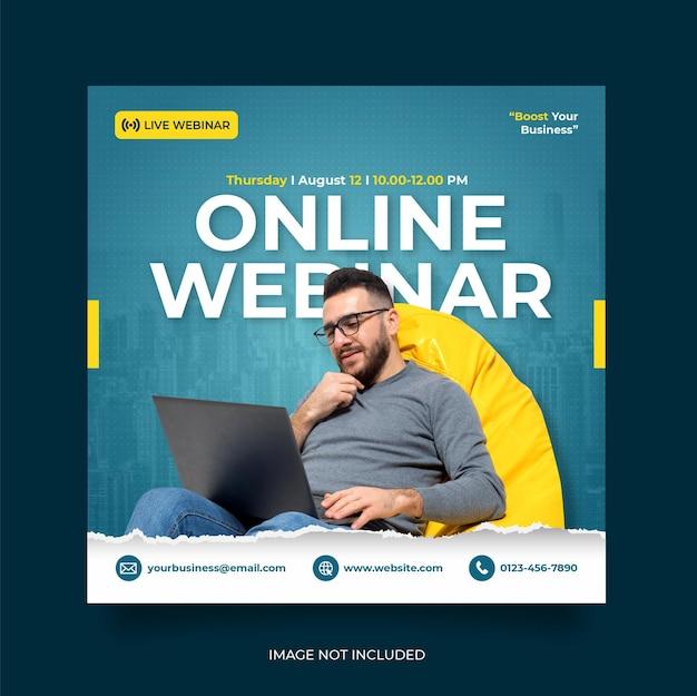 Seminario web en vivo de marketing digital y plantilla de publicación en redes sociales corporativas