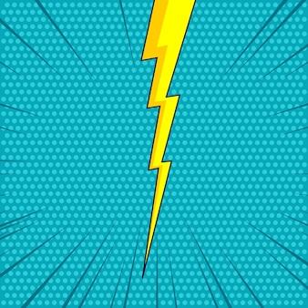 Semitono cómico con ilustración de trueno flash