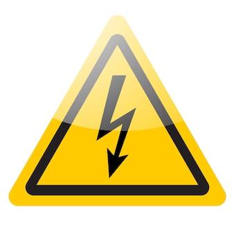 Señal de advertencia amarilla. icono de símbolo de peligro de rayo.