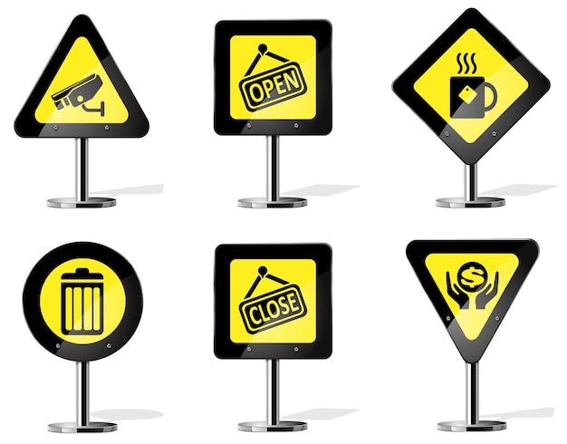 Señal de advertencia de carretera amarilla