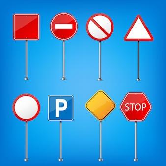 Señal de advertencia de carretera, plantilla reguladora del tráfico.