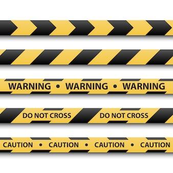 Señal de advertencia, cintas de rayas amarillas y negras