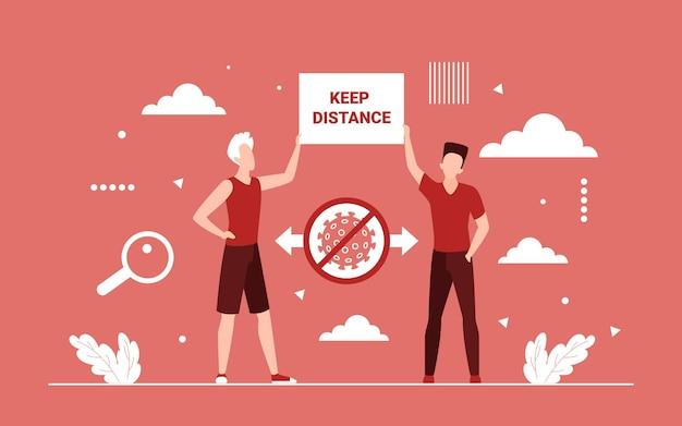 Señal de advertencia de distancia social, concepto de prevención de brotes
