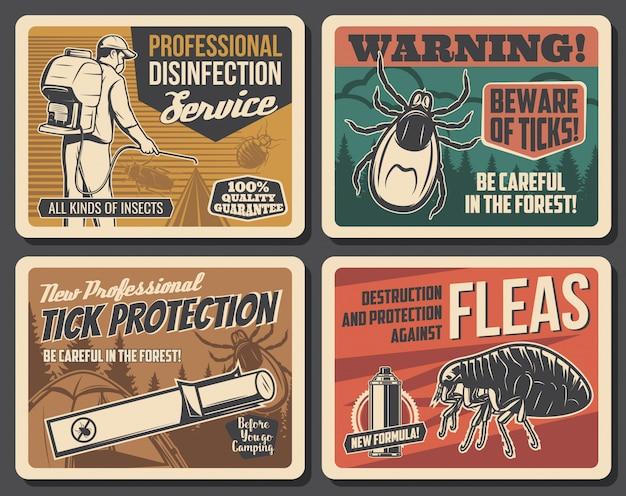Señal de advertencia de garrapatas del bosque, control de plagas de insectos pulgas