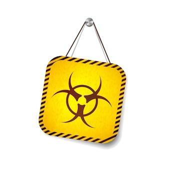 Señal de advertencia de peligro biológico grunge colgando de la cuerda en blanco