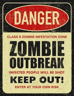 Señal de advertencia peligro zona zombie