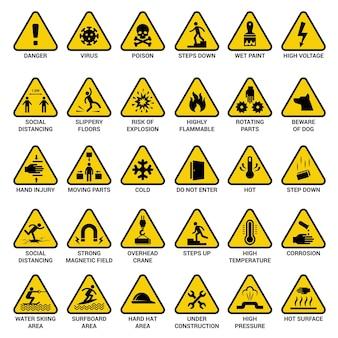 Señal de advertencia triangular. símbolos de peligro colección de vectores de peligro eléctrico de emergencia de seguridad. ilustración icono de precaución amarillo, distanciamiento social e inflamable