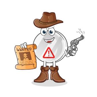 Señal de advertencia de vaquero con pistola y cartel querido ilustración