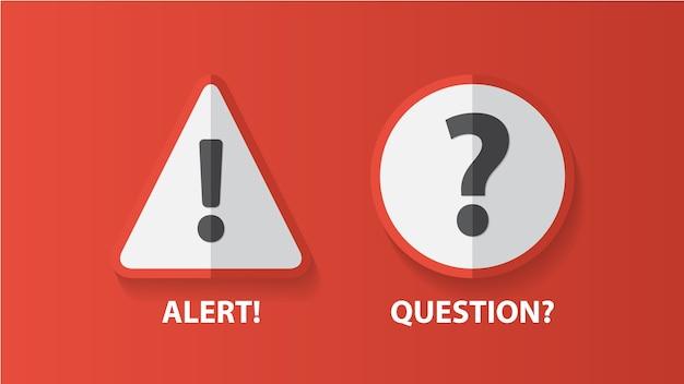Señal de alerta de advertencia con signo de exclamación y símbolo de interrogación.