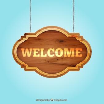 Señal de bienvenido de madera