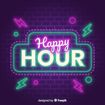 Señal brillante para la oferta de venta de happy hour