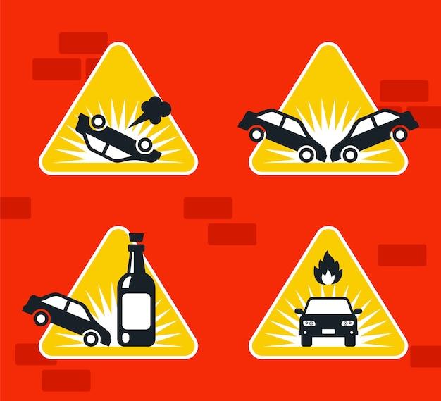 Señal de carretera accidente de coche en la pista. ilustración.