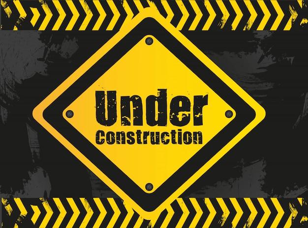 En señal de construcción en grunge con cuadrícula