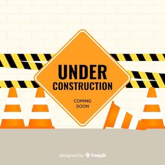 Señal en construcción plana