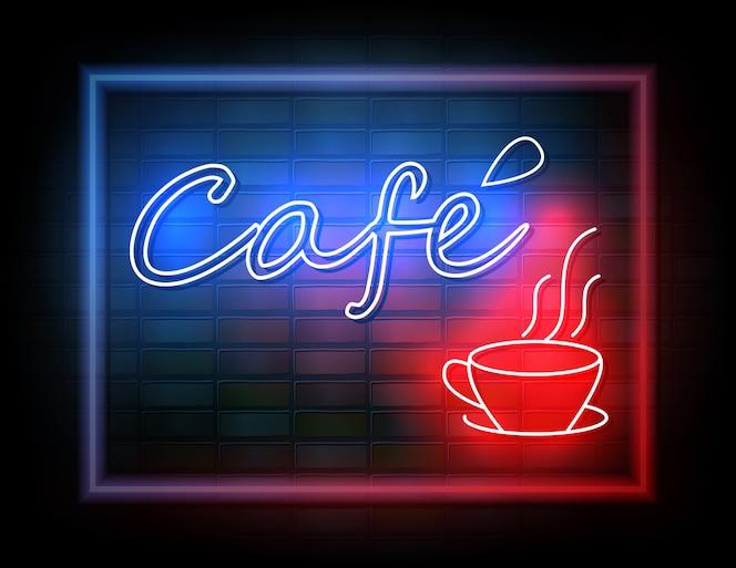 Señal de neón del café en la pared de ladrillo